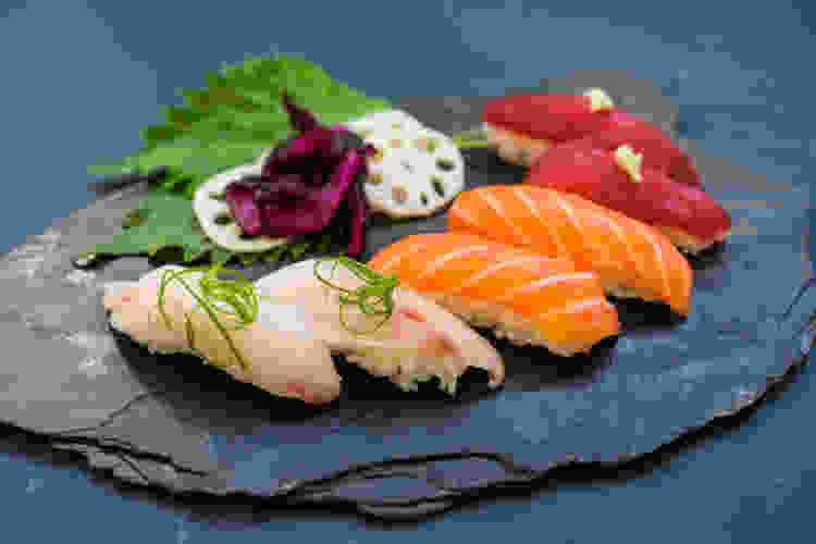 plated sushi and nigiri