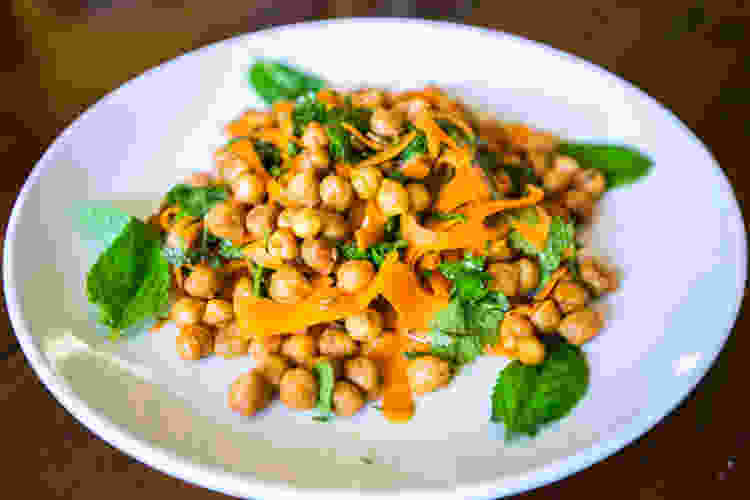chickpea and shaved carrot salad
