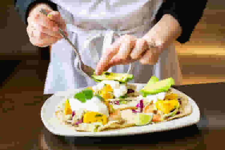 private chef plating tostadas
