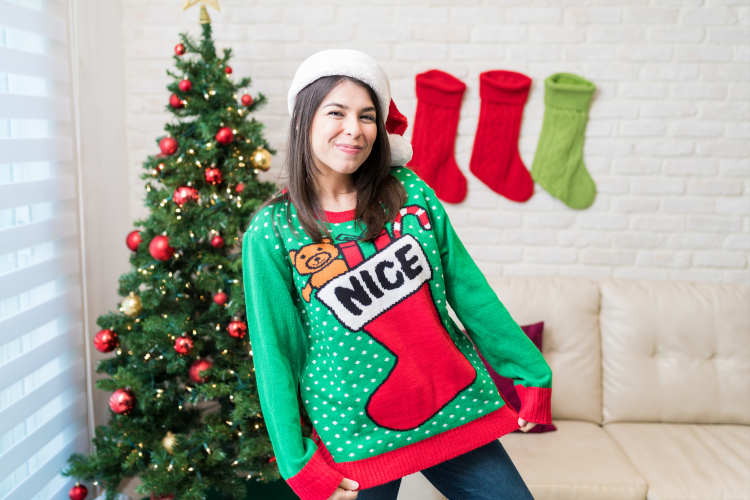 ugly sweater parties are a fun virtual holiday party idea