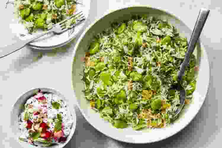 persian rice with fava beans and dill is a spring recipe that will brighten up your table