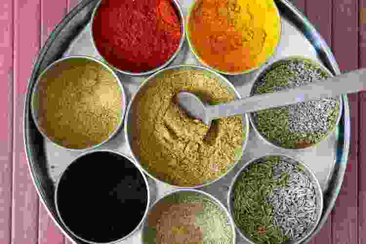 spices and seasonings on a silver plate