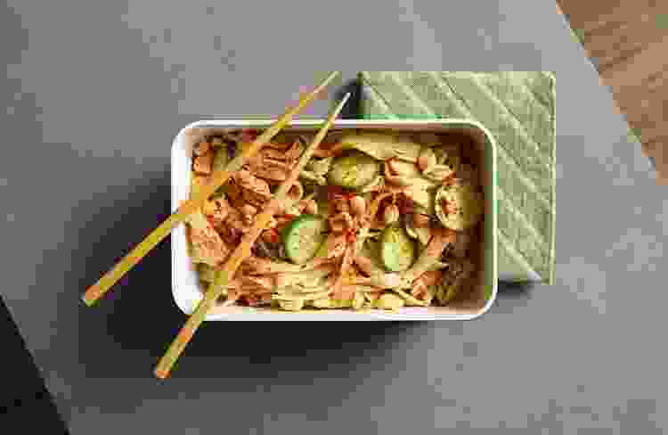 bento box with noodles