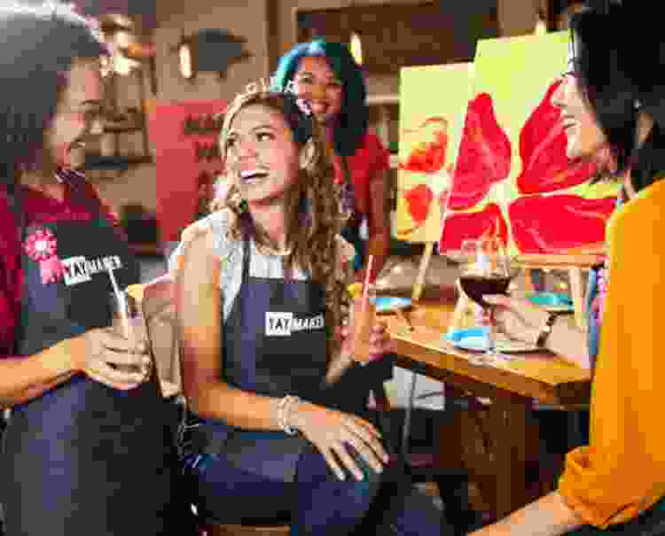 take a painting class for a 21st birthday idea that doesn't include a bar