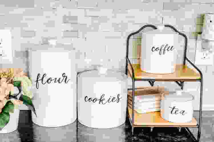decorative cookie jars on a counter