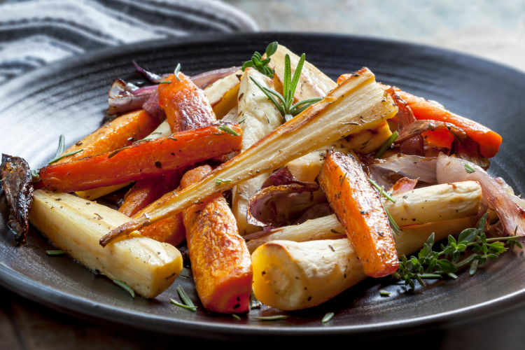 fall root vegetables plated on a dish