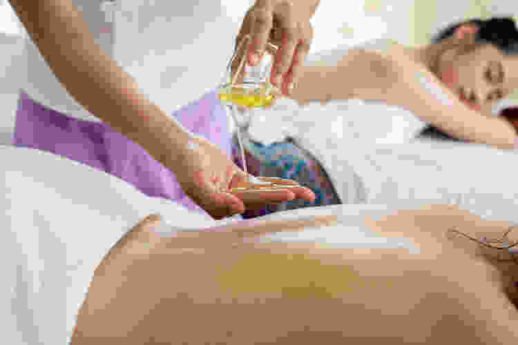 relaxing at a spa during a massage