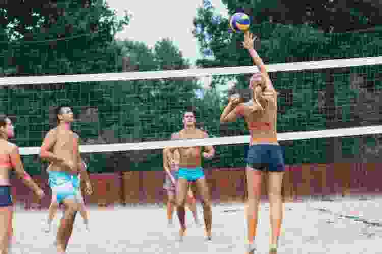 beach volleyball is a fun double date idea
