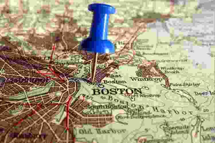 boston map with push pin