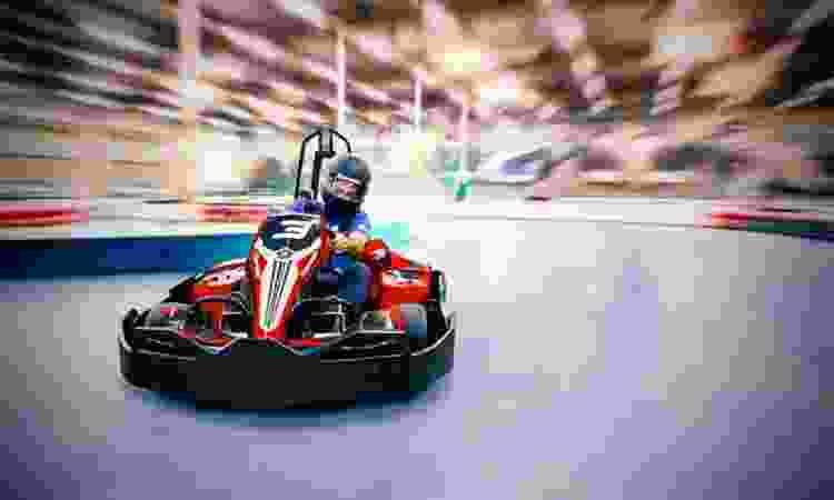 racing on a go kart track