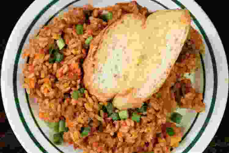 jambalaya with buttered bread from cafe maspero