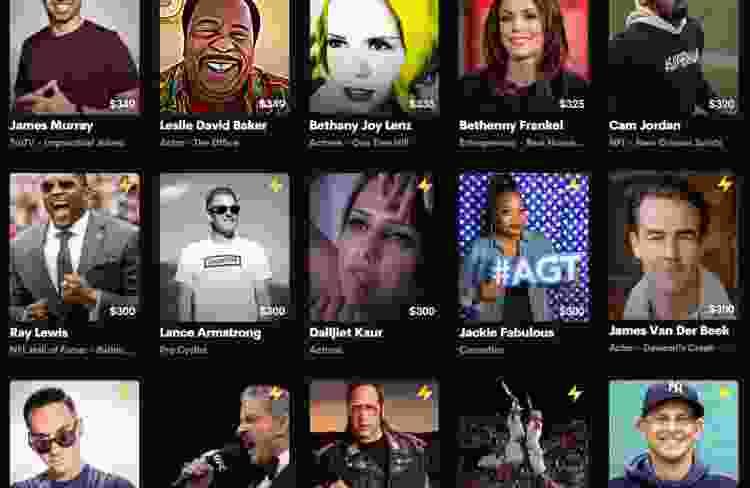screenshot of celebrities on cameo