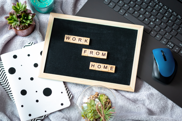 work from home letterboard and workspace