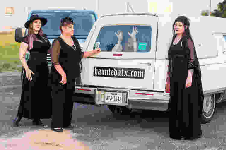 a haunted hearse tour is a fun team building activity to do in austin