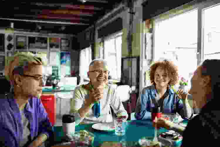 colleagues enjoying lunch together