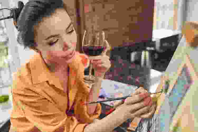 a wine and paint event is a fun double date idea