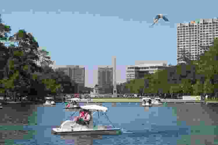 paddle boats in Hermann Park Conservancy
