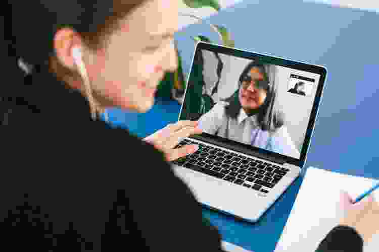 virtual teammates holding a video chat meeting