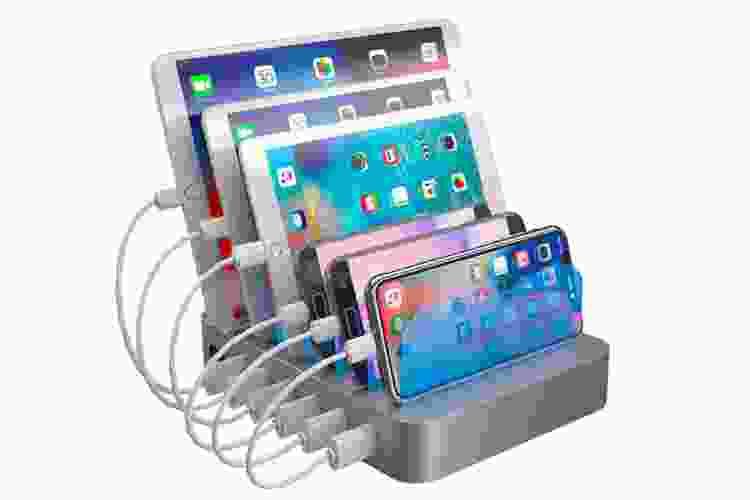 a five-port gadget charging station