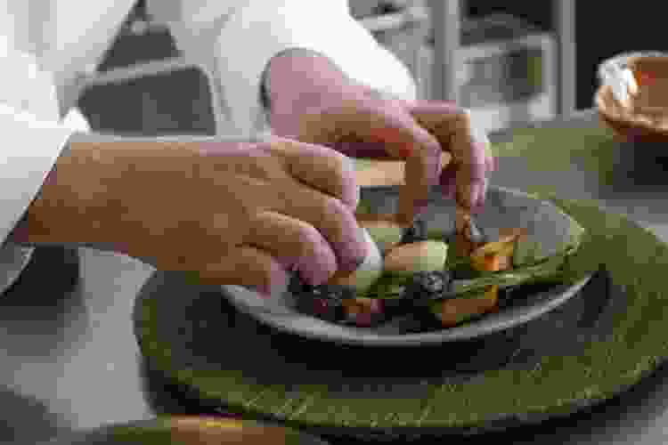 private chef plating scallops over vegetables