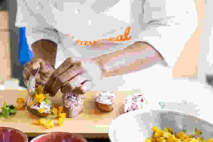 private chef preparing crostini appetizer