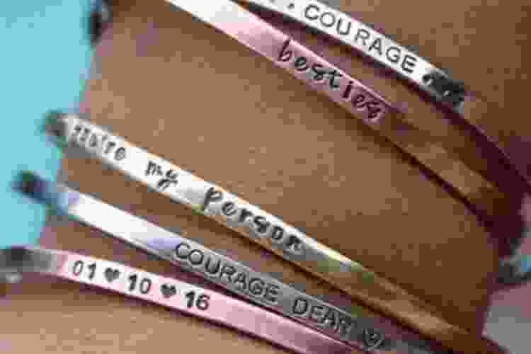 engraved custom quote bracelet