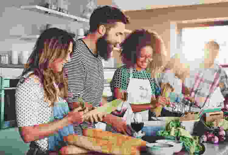 sign up for a group cooking class for a 21st birthday idea that doesn't include a bar