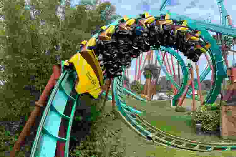 roller coaster looping around the track at a theme park
