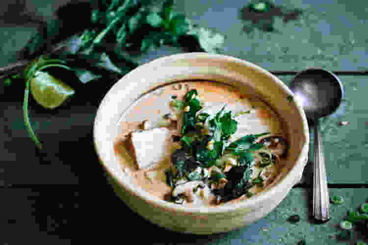 thai coconut soup is a comforting winter recipe