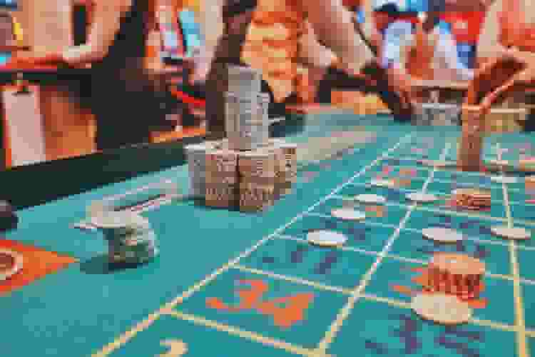 casino table with chips