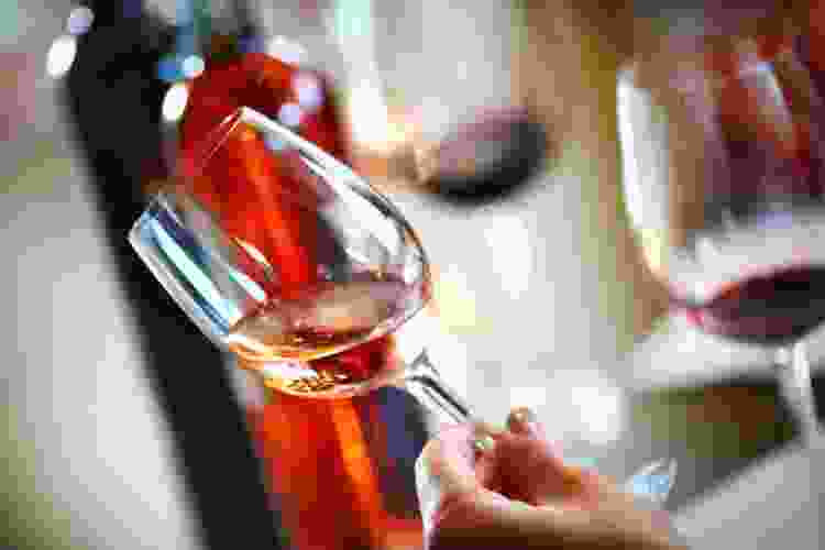 wine taster evaluating wine by sight