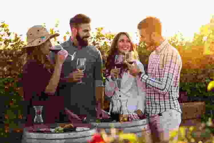 friends enjoying a winery tour double date