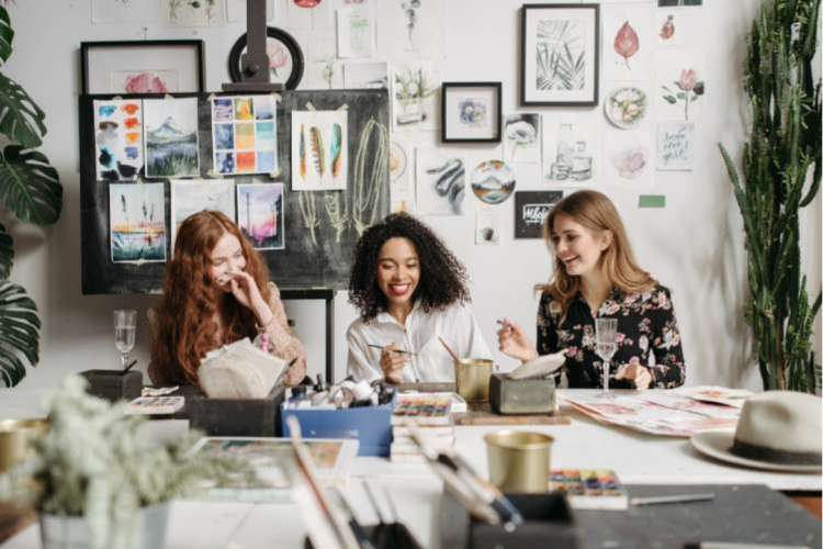 For a creative girls night idea, gather the girls for a drawing or painting class