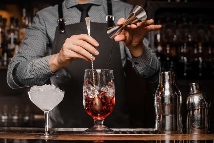 bartender making a mixed drink