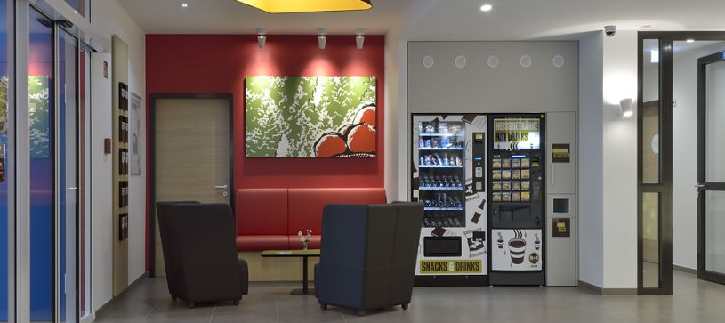Hotel Offenburg lobby and vending machines