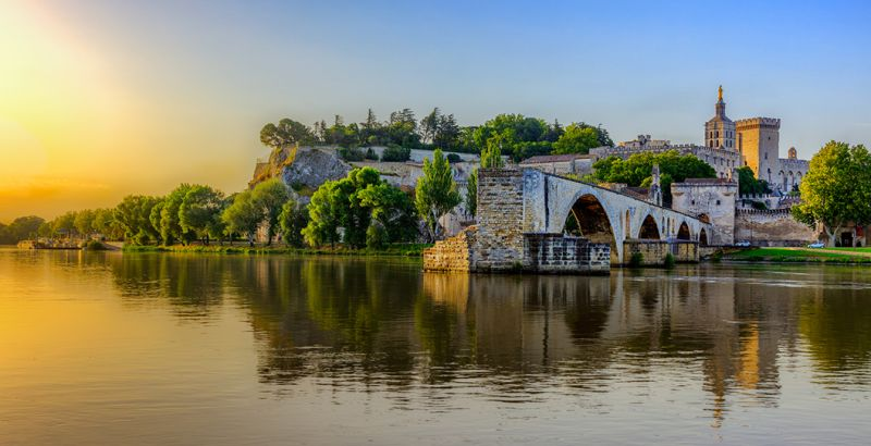 View of Saint-Bénézet Bridge in Avignon