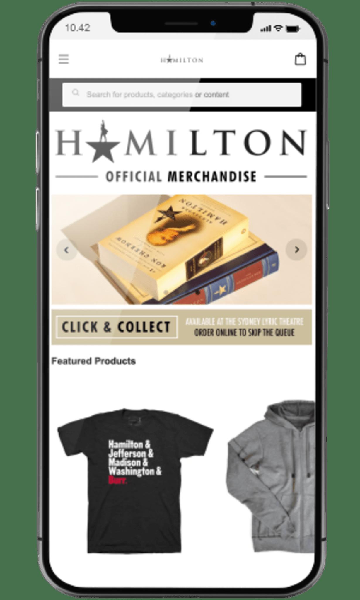 Hamilton musical site using storeConnect