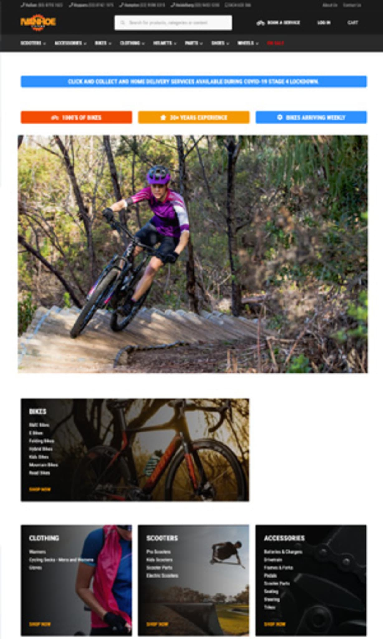 Ivanhoe cycle site using storeConnect
