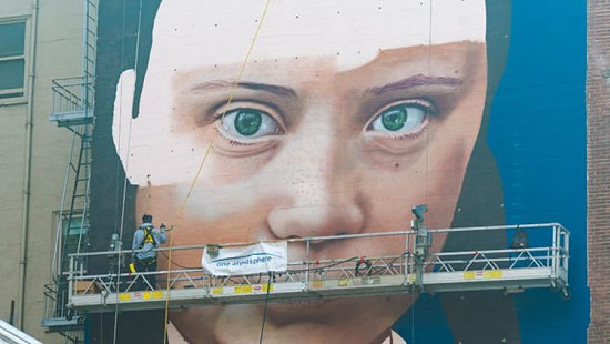 Greta Thunberg mural casts eyes over ...