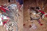 A motorbike hit a pair of scissors...