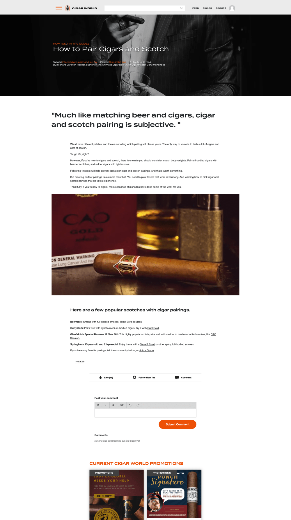 How to Pair Cigars and Scotch