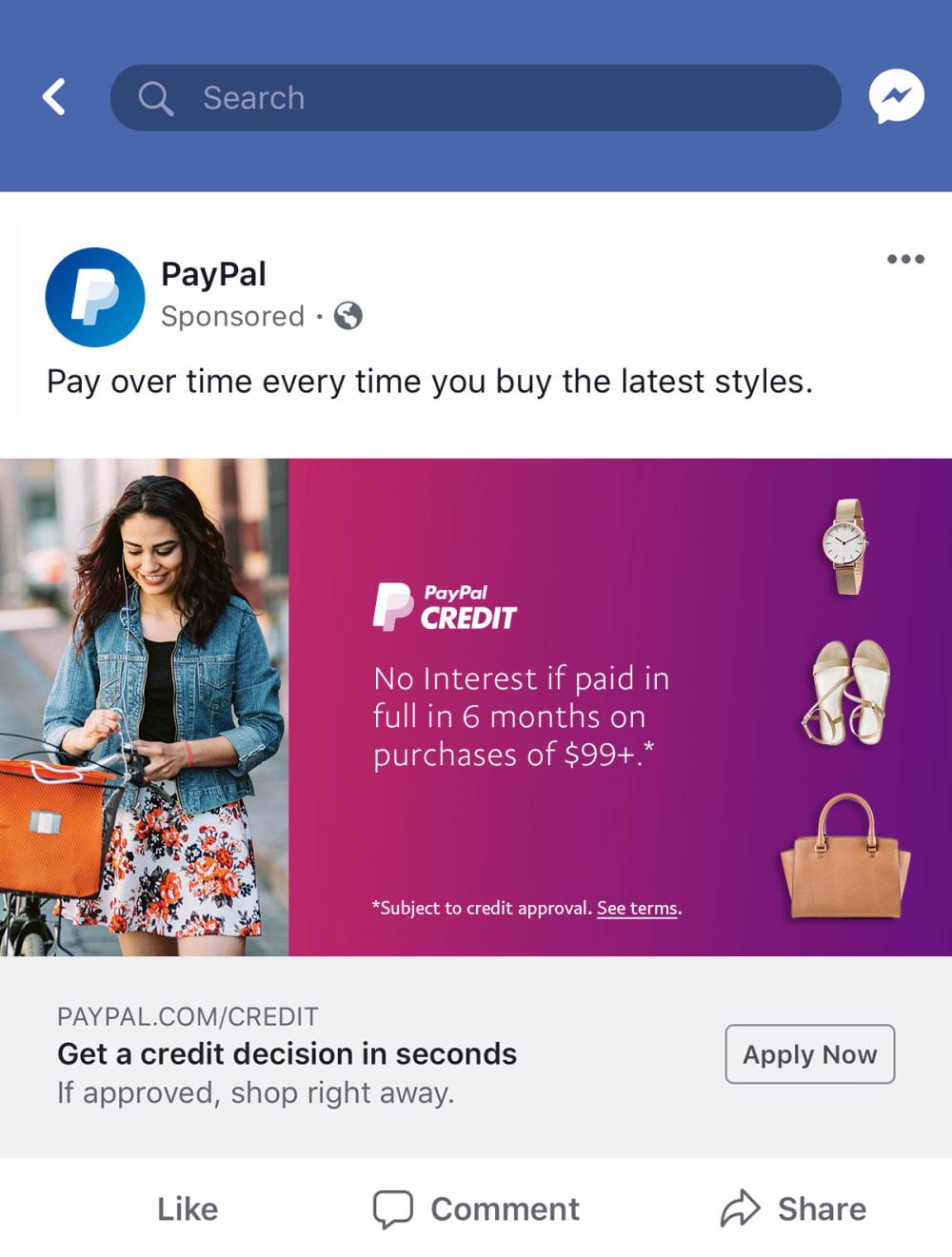 PayPal Credit Facebook 2 v2