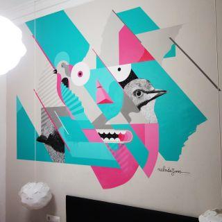 Geometrische Wandmalerei by Niels de Jong