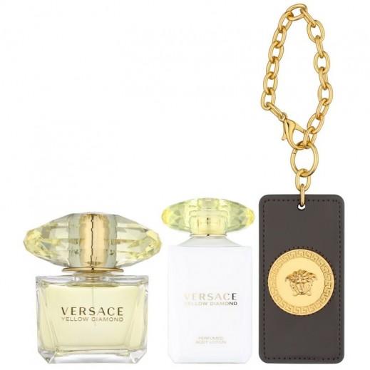 Versace Yellow Diamond Gift Set 90ml EDT + 100ml Body Lotion + Bag Tag  c1e3271966d83