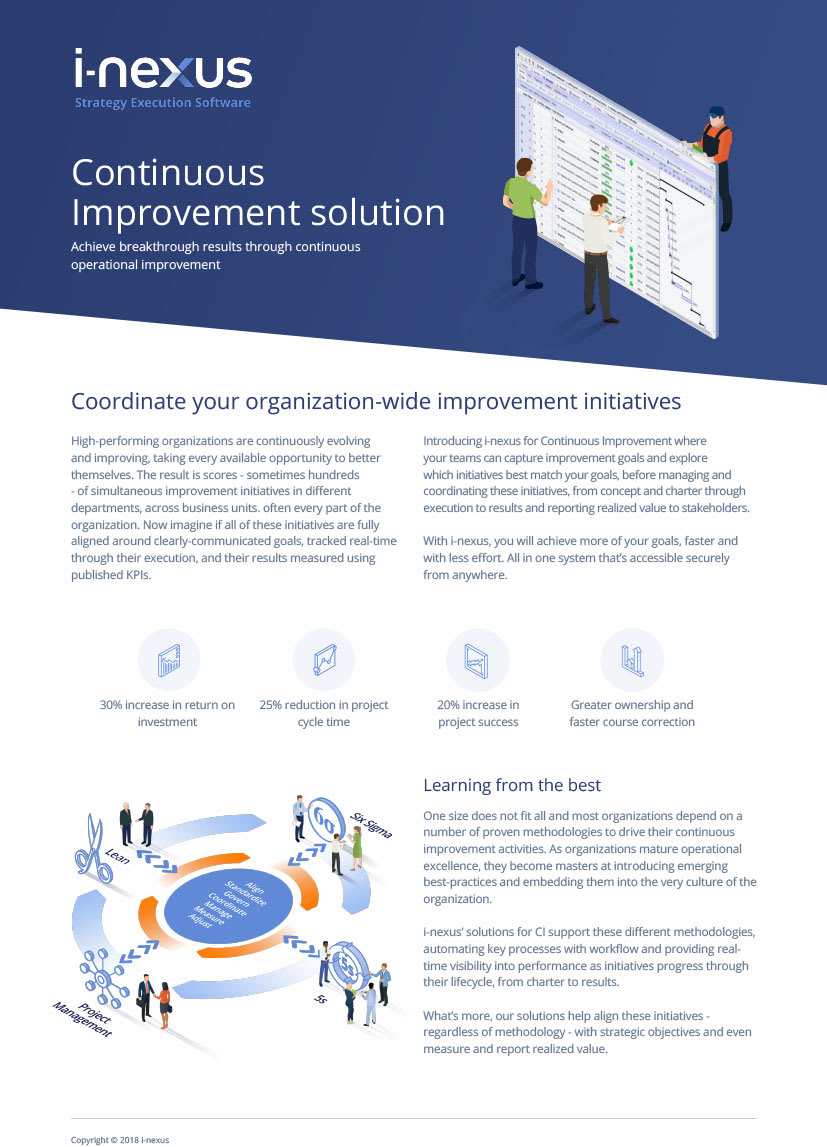 i-nexus Continuous Improvement Solution Factsheet