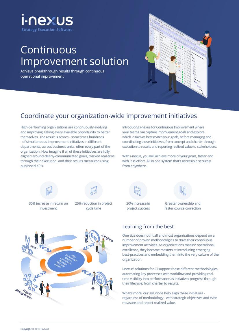 i-nexus Continuous Improvement Solution Factsheet