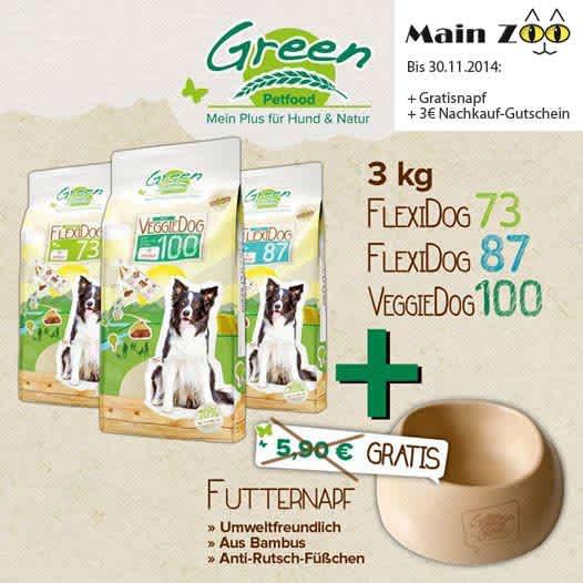 Bis 30.11.2014: Green Petfood Aktion - Futternapf gratis!