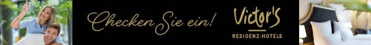 Victor's Residenz-Hotels-Victor's Residenz-Hotels !14 einzigartige Hotels in Deutschland!Victor's steht 14-mal in Deutschland für echte Wohlfühl- und Genussmomente. Vom stilvollen 3-Sterne-City-Hotel bis zum 5-Sterne-Superior-Luxusdomizil im Grünen erwartet Sie herzliche Gastfreundschaft, zuvorkommender Service und höchster Komfort � getreu dem Victor's Qualitätsversprechen. Ob Urlaub, Business oder Feier: Wir erfüllen Ihre Erwartungen nicht. Wir übertreffen sie.