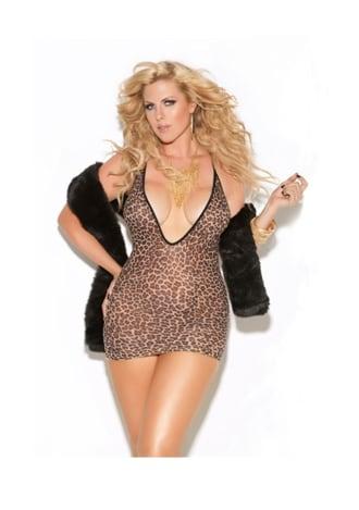 Deep V Leopard Mini Dress - Plus Size