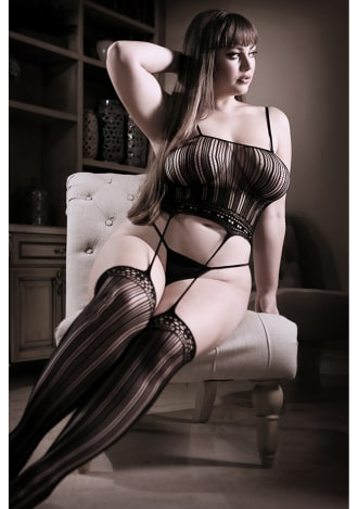 Black Magic Cami Top with Attached Stockings - Queen Size